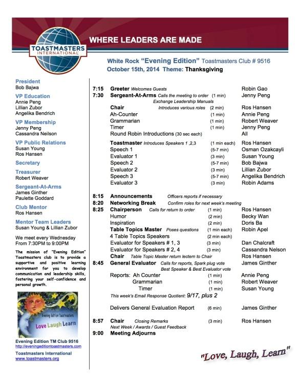 Agenda  October 15th, 2014